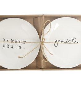 Gusta Set van 2 bordjes ø20 Geniet/Thuis - Genieters