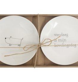 Gusta Set van 2 bordjes 20 cm Lievelings/Hond - Genieters