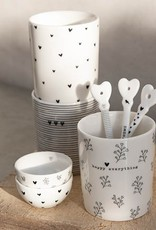 Bastion Collections Lepeltje Happy Home| 14 cm | Wit/Zwart | Bastion Collections