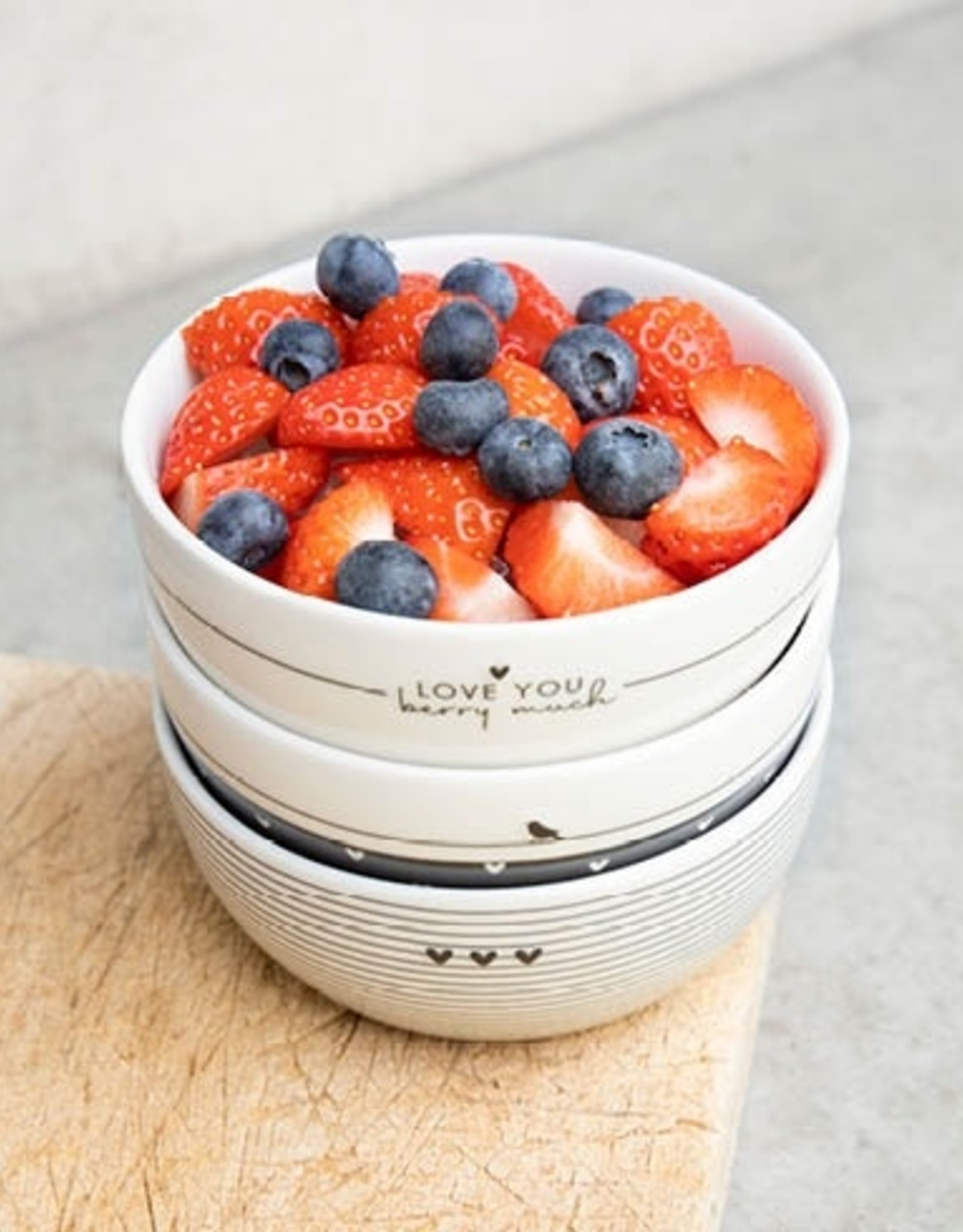 Bastion Collections FruitBowls Love you Berry Much 4.5x12cm |  Set van 3 | Bastion Collections