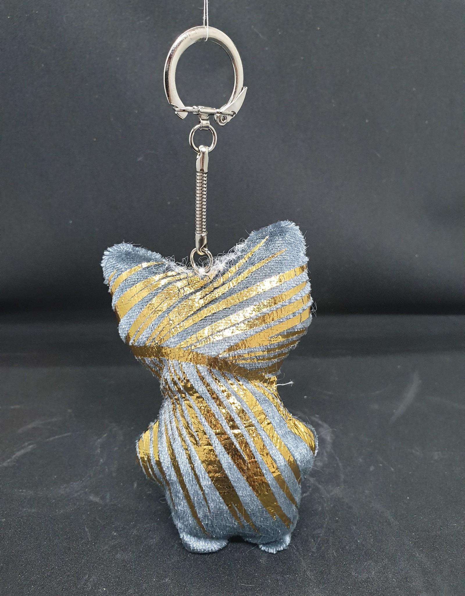 seazido - wevyra geluk en bescherming poppetje sleutel hanger (goud-blauw)