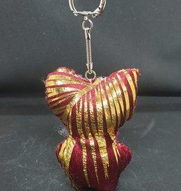 seazido - wevyra geluk en bescherming poppetje sleutel hanger (goud-rood)