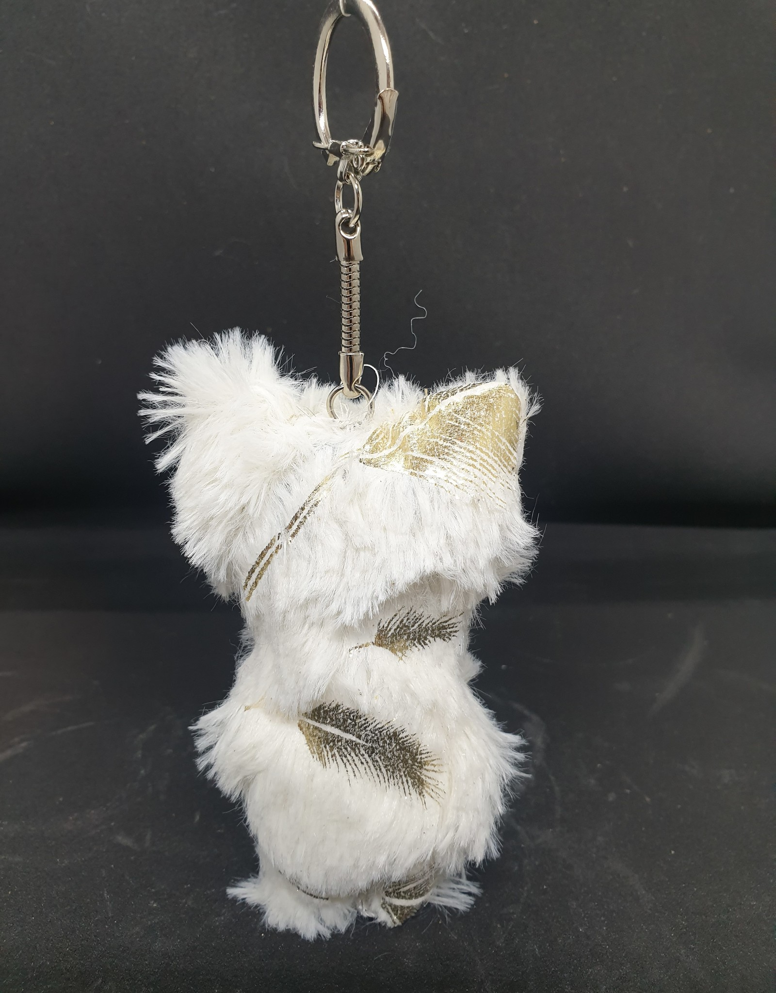 seazido - wevyra geluk en bescherming poppetje  sleutelhanger (gouden veer- wit)