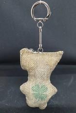 seazido - wevyra geluk en bescherming poppetje  sleutelhanger (jute met een klavertje 4)