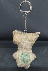 seazido - wevyra luck and protection doll keychain  (jute with a four-leaf clover)