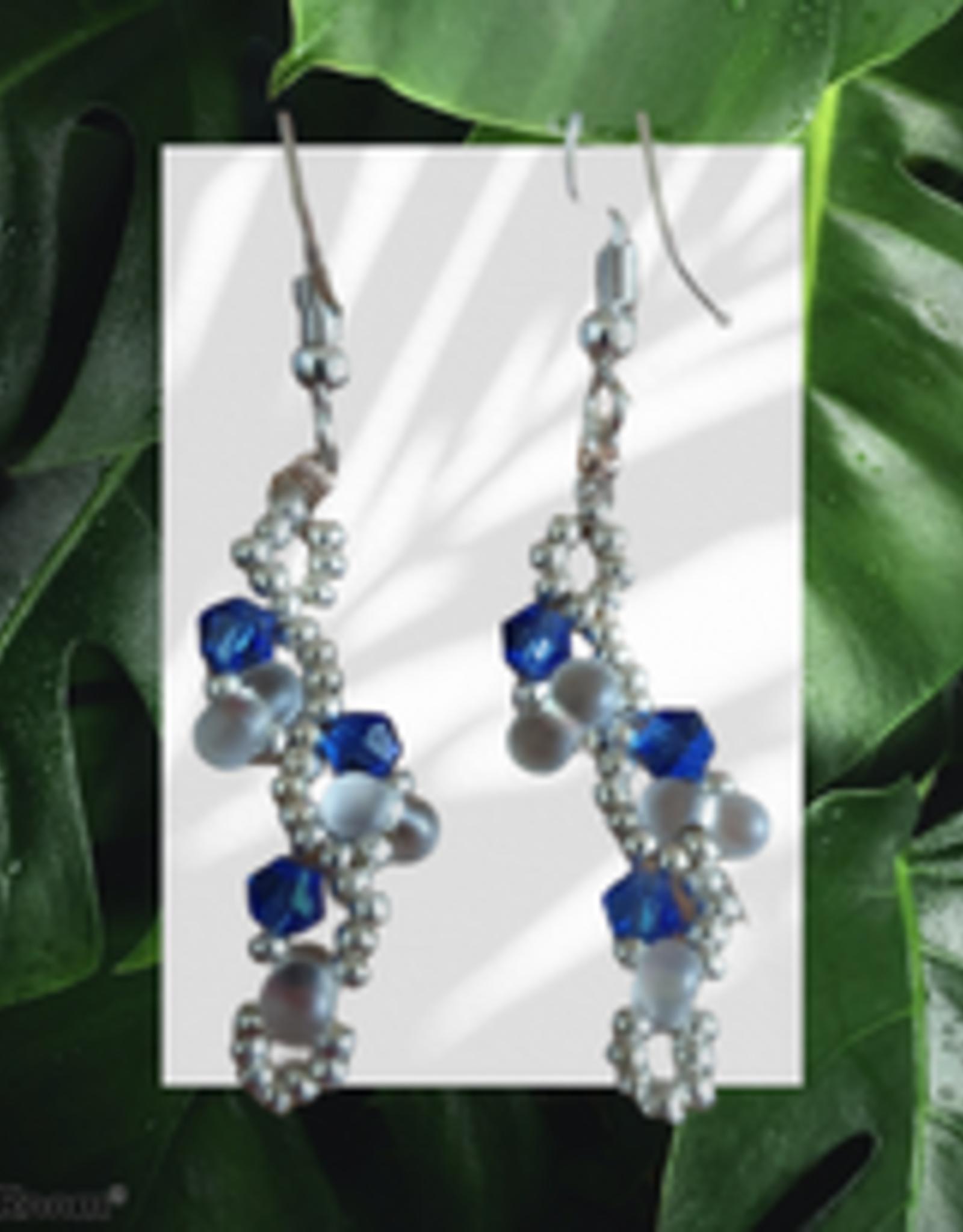 seazido - wevyra swarovski oorringen  Blauw s-vormig  kort