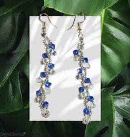seazido - wevyra swarovski oorringen  Blauw s-vormig