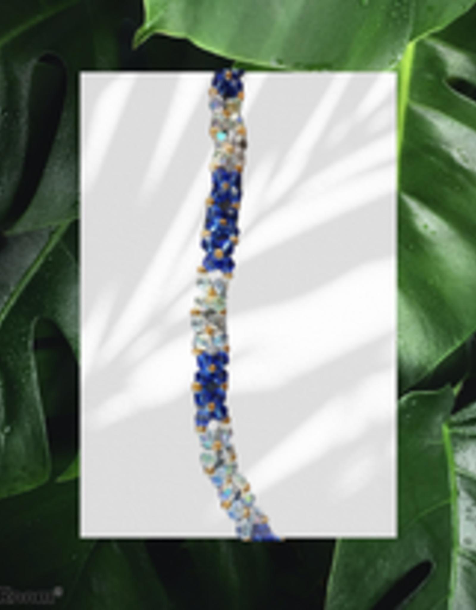seazido - wevyra swarovski ketting Blauw bloem vormig