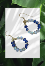 seazido - wevyra swarovski oorring blauw wit