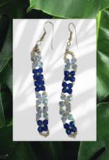 seazido - wevyra swarovski oorringen hangend blauw wit
