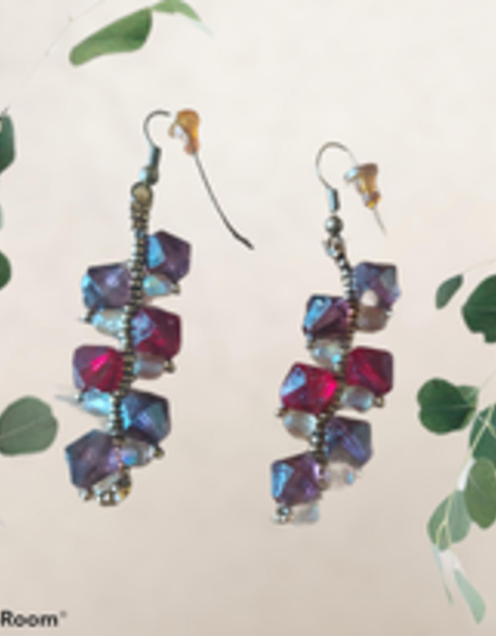 seazido - wevyra swarovski oorringen paars - robijnrood