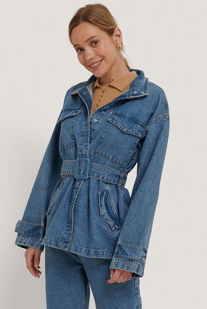 Belted Oversized Denim Jacket