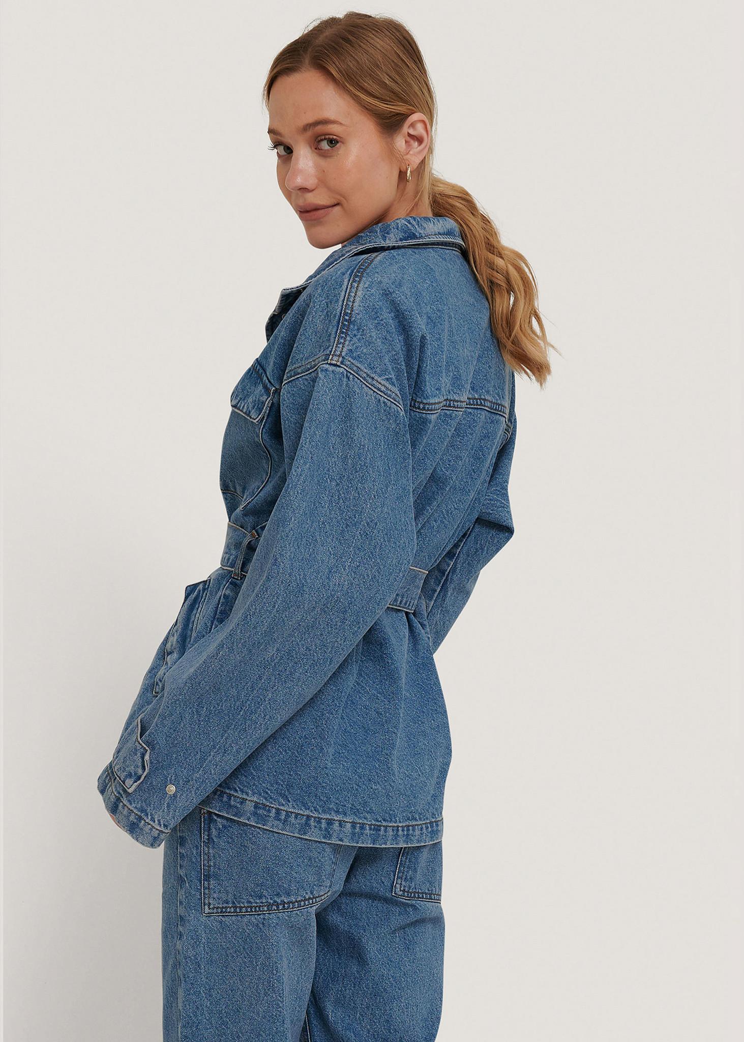 Belted Oversized Denim Jacket-2