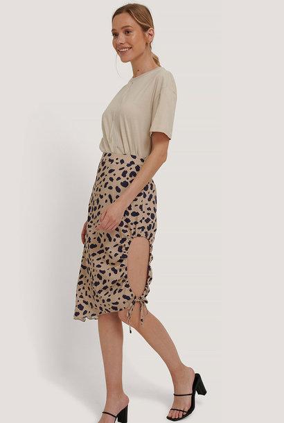 Draped High Slit Midi Skirt