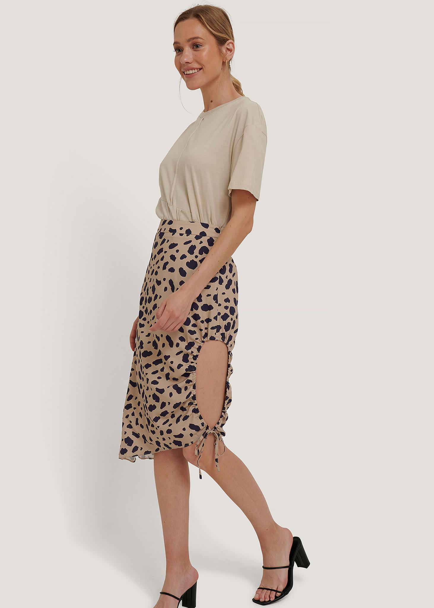 Draped High Slit Midi Skirt-1