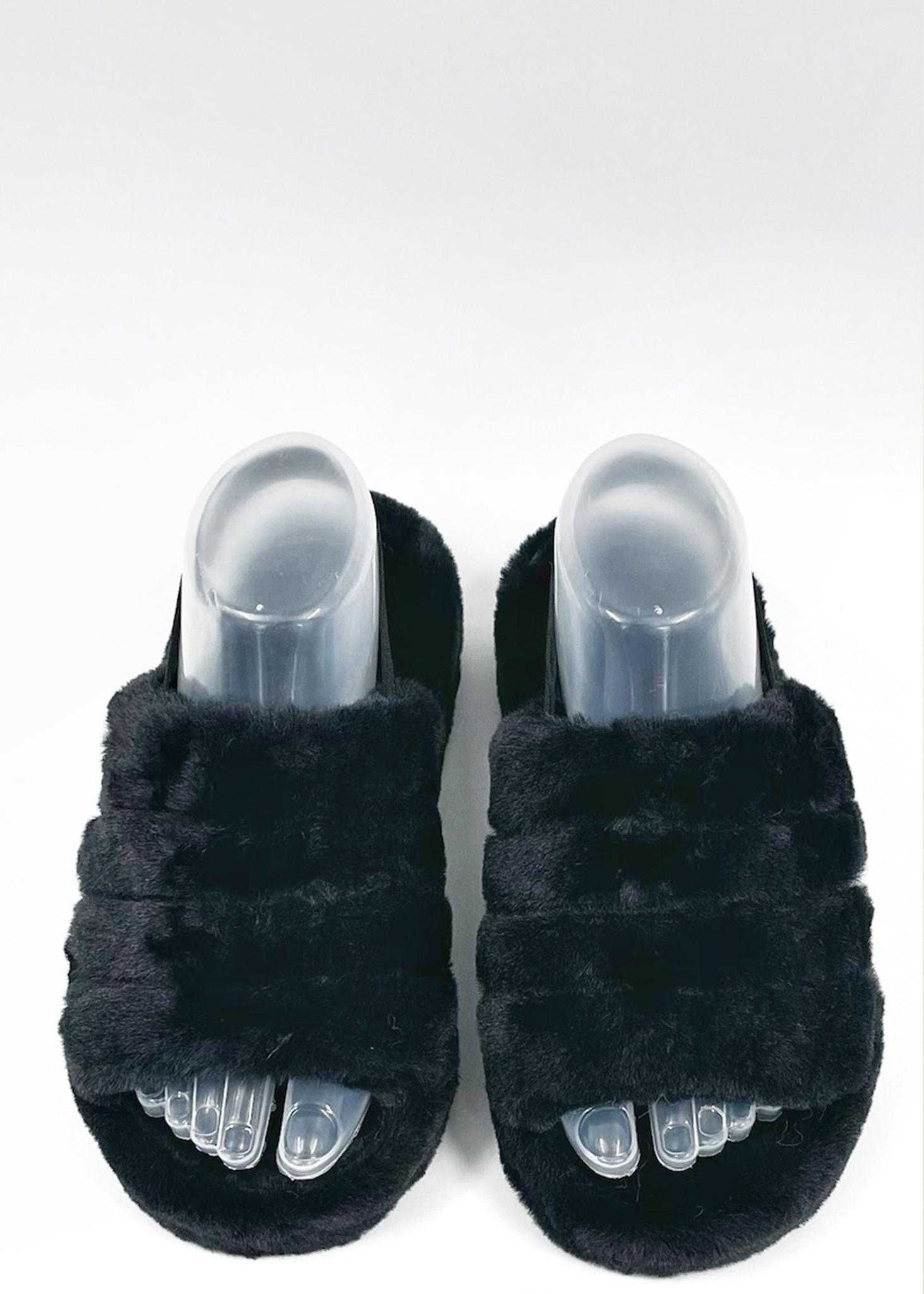 Fluffy Slippers Zwart-2