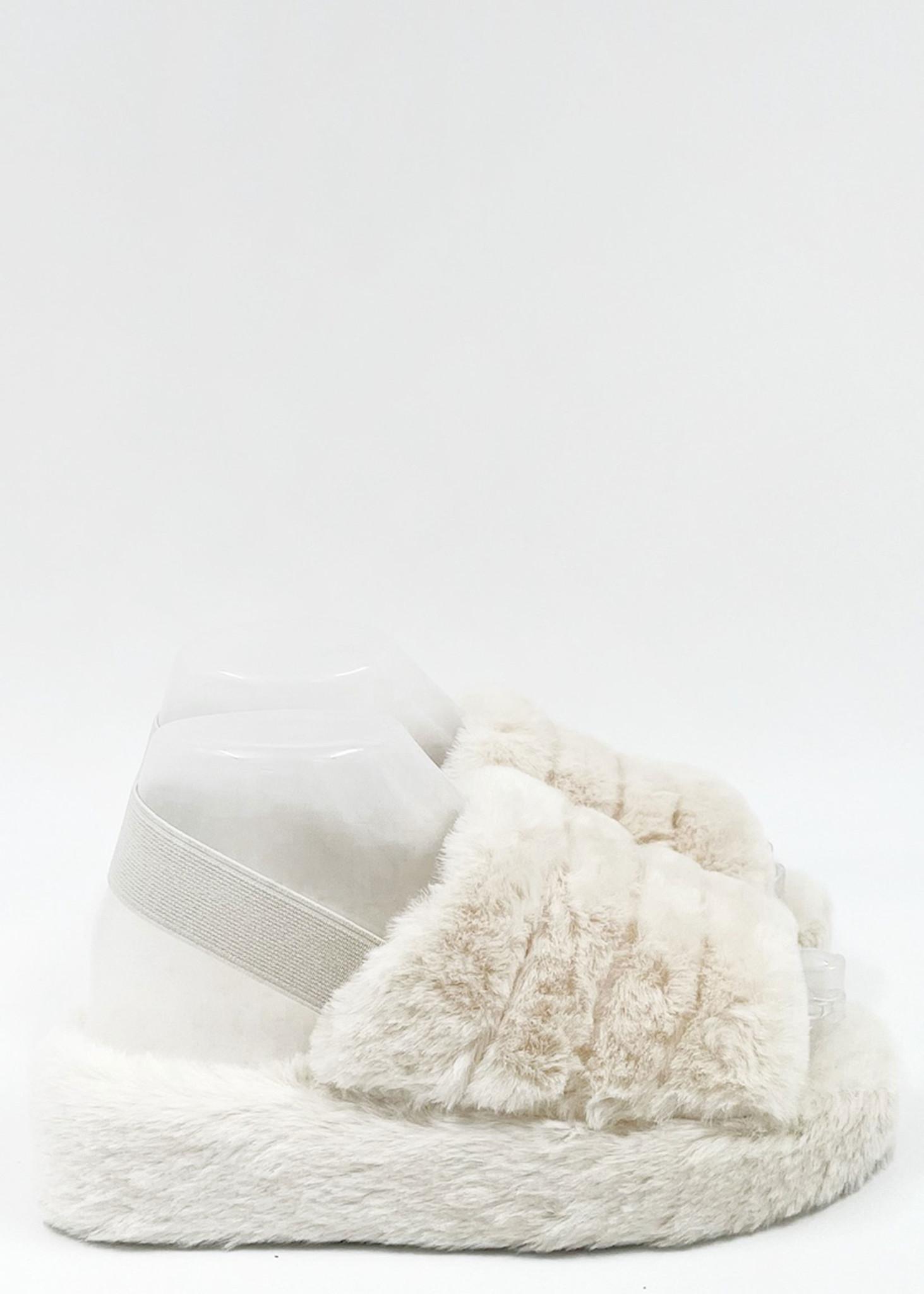Fluffy Slippers Ecru-1