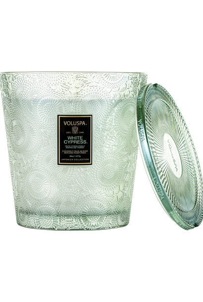 White Cypress 3 Wick Hearth Candle