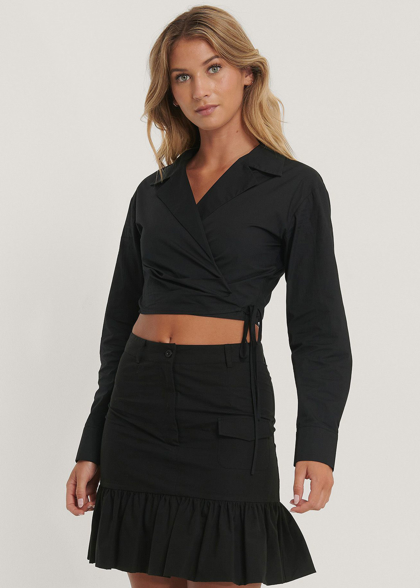 Frill Bubble Hem Skirt-1