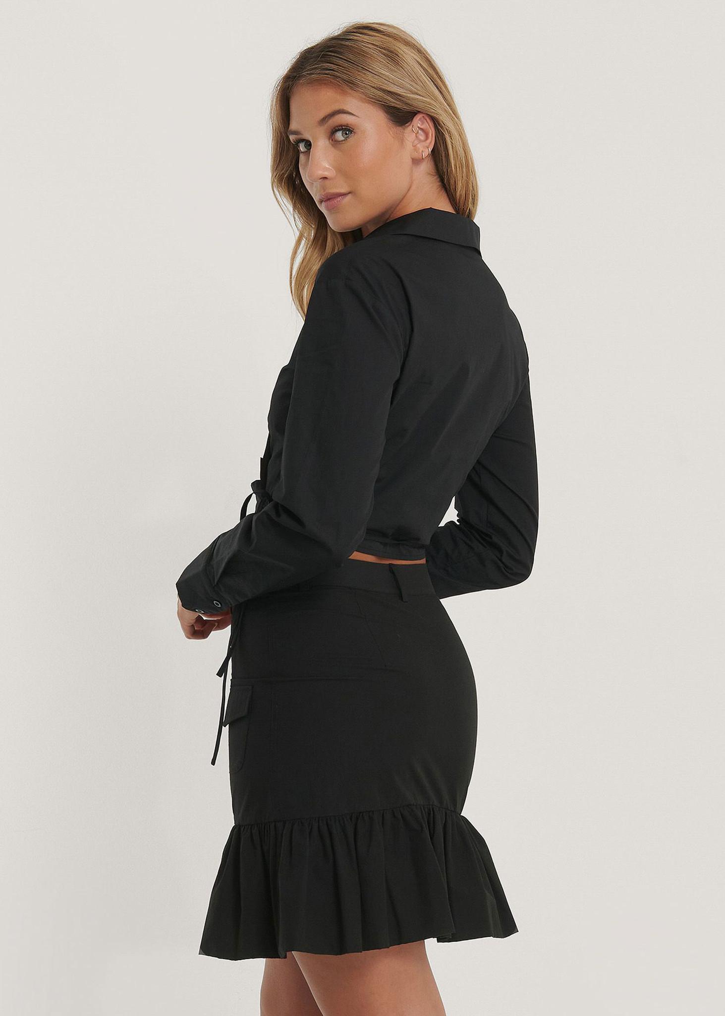 Frill Bubble Hem Skirt-2