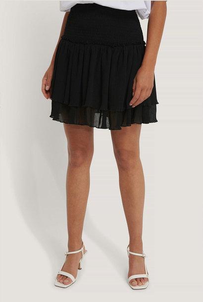 Mini Structured Smocked Skirt Black