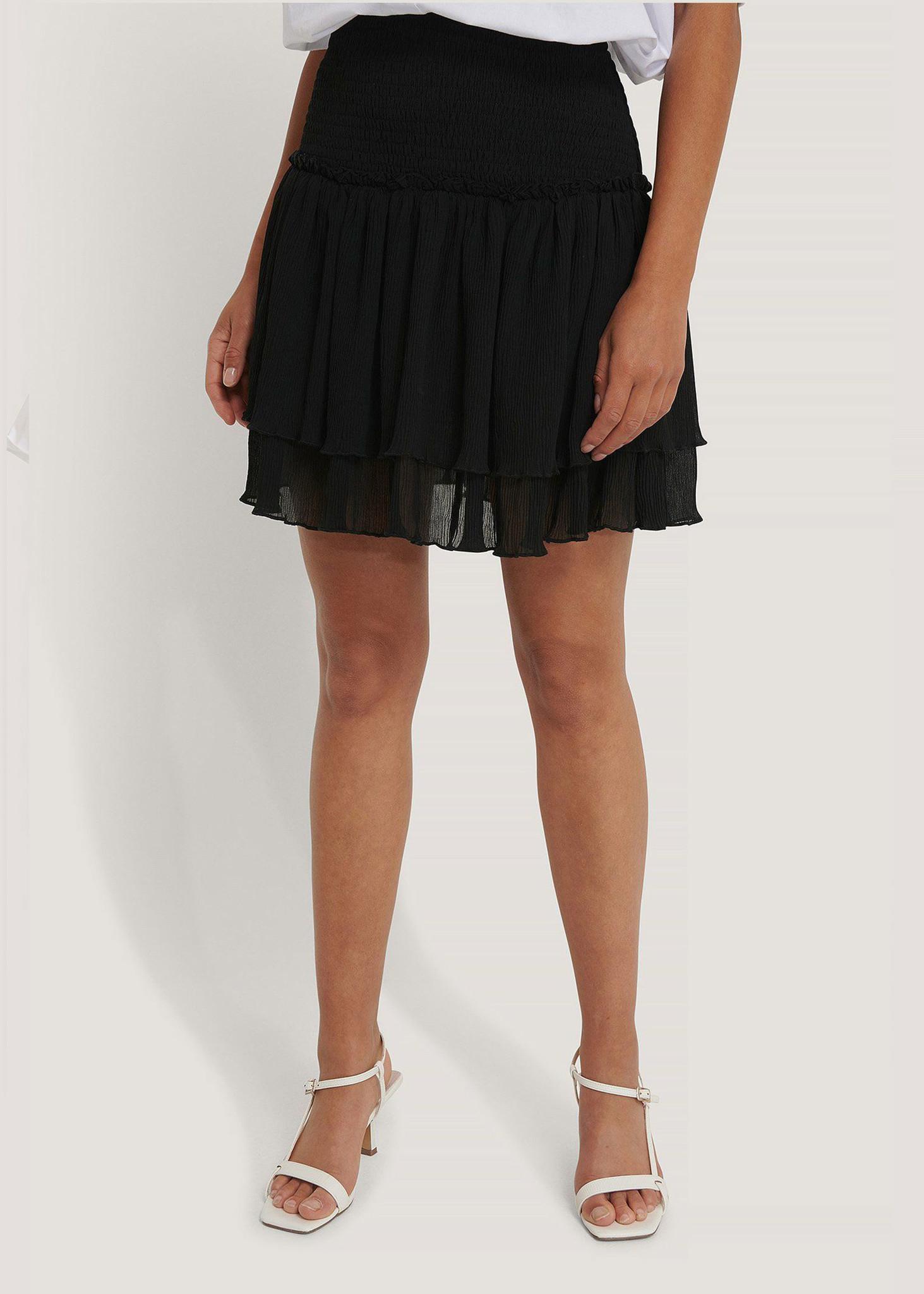 Mini Structured Smocked Skirt Black-1