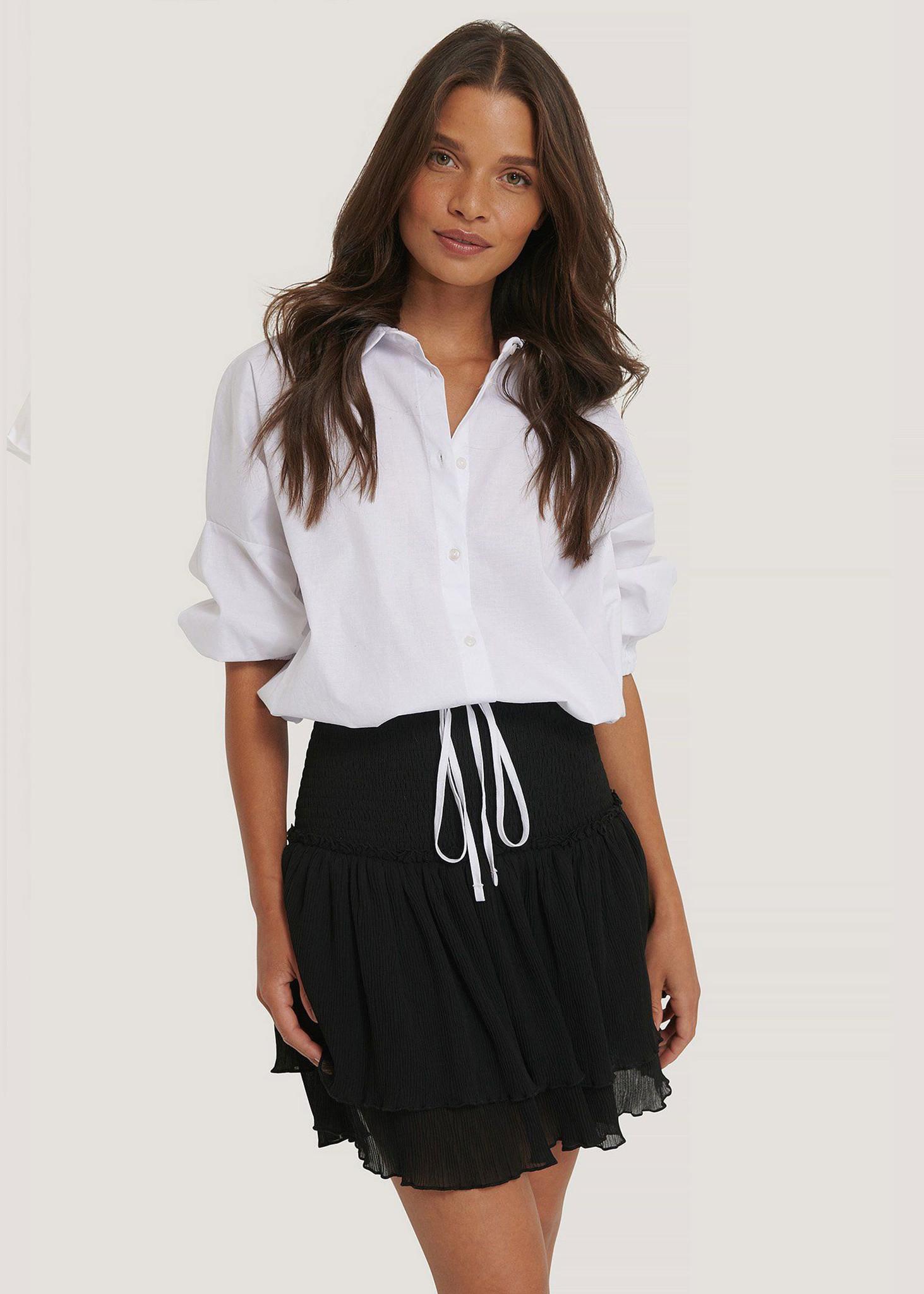 Mini Structured Smocked Skirt Black-2