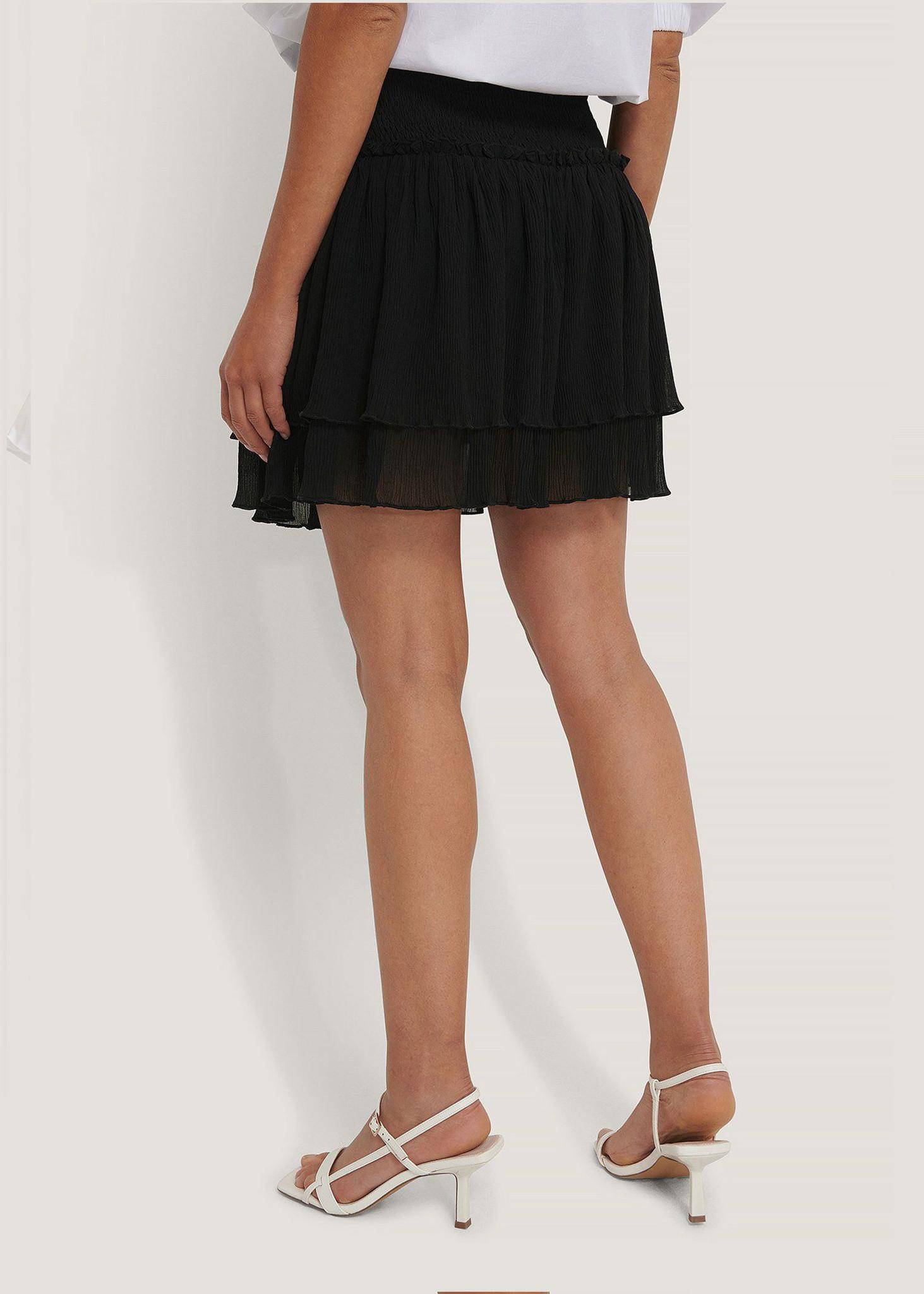 Mini Structured Smocked Skirt Black-3