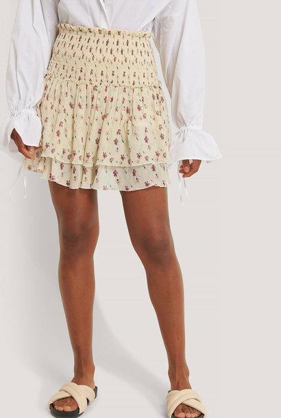 Mini Structured Smocked Skirt White Flower