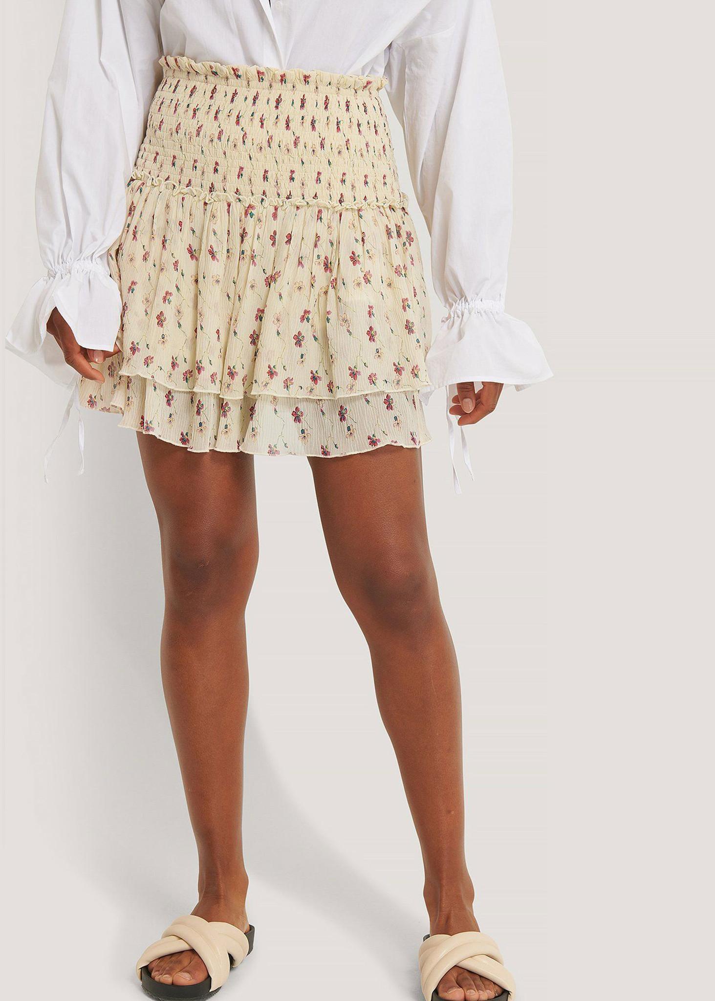 Mini Structured Smocked Skirt White Flower-1