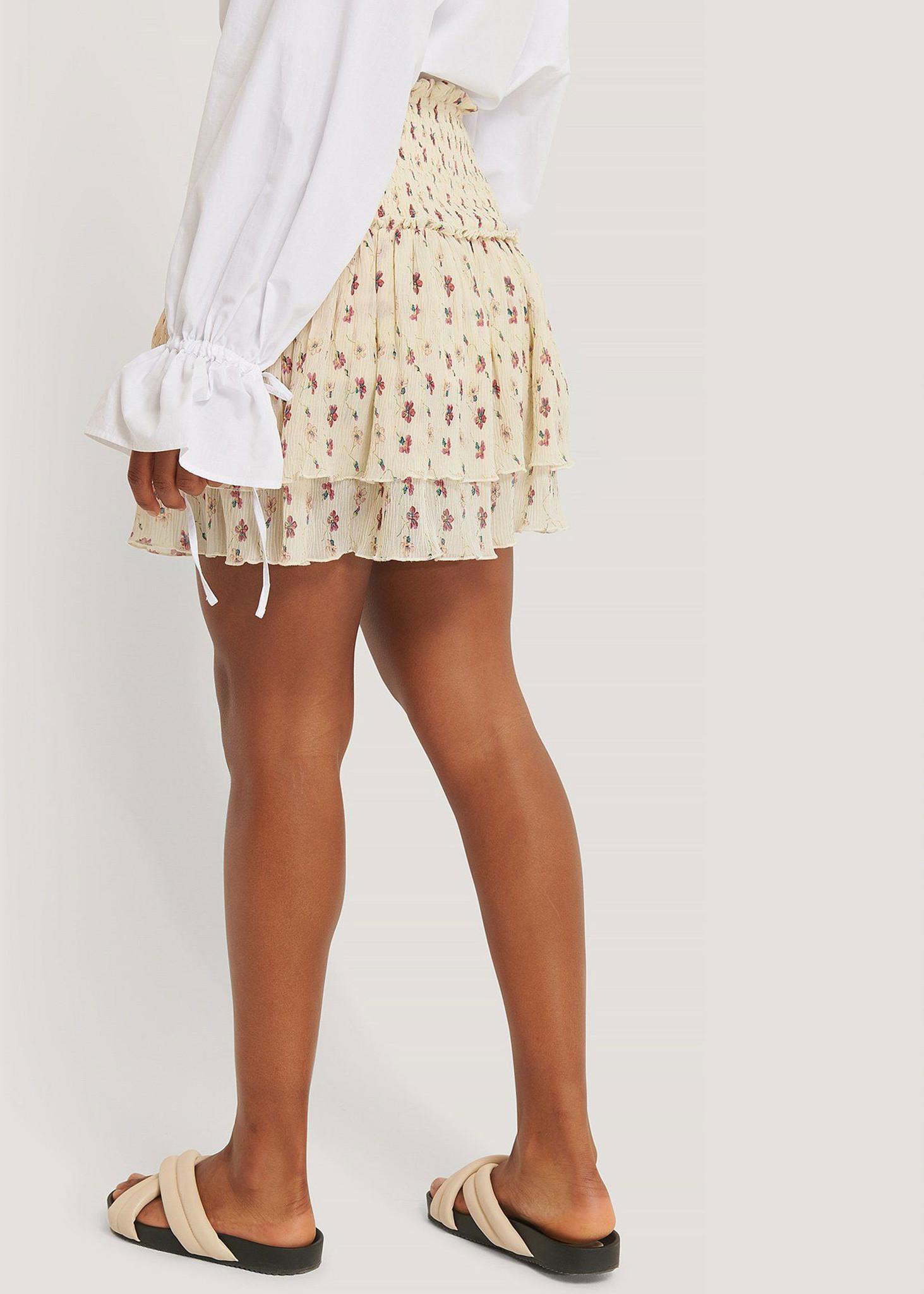 Mini Structured Smocked Skirt White Flower-2
