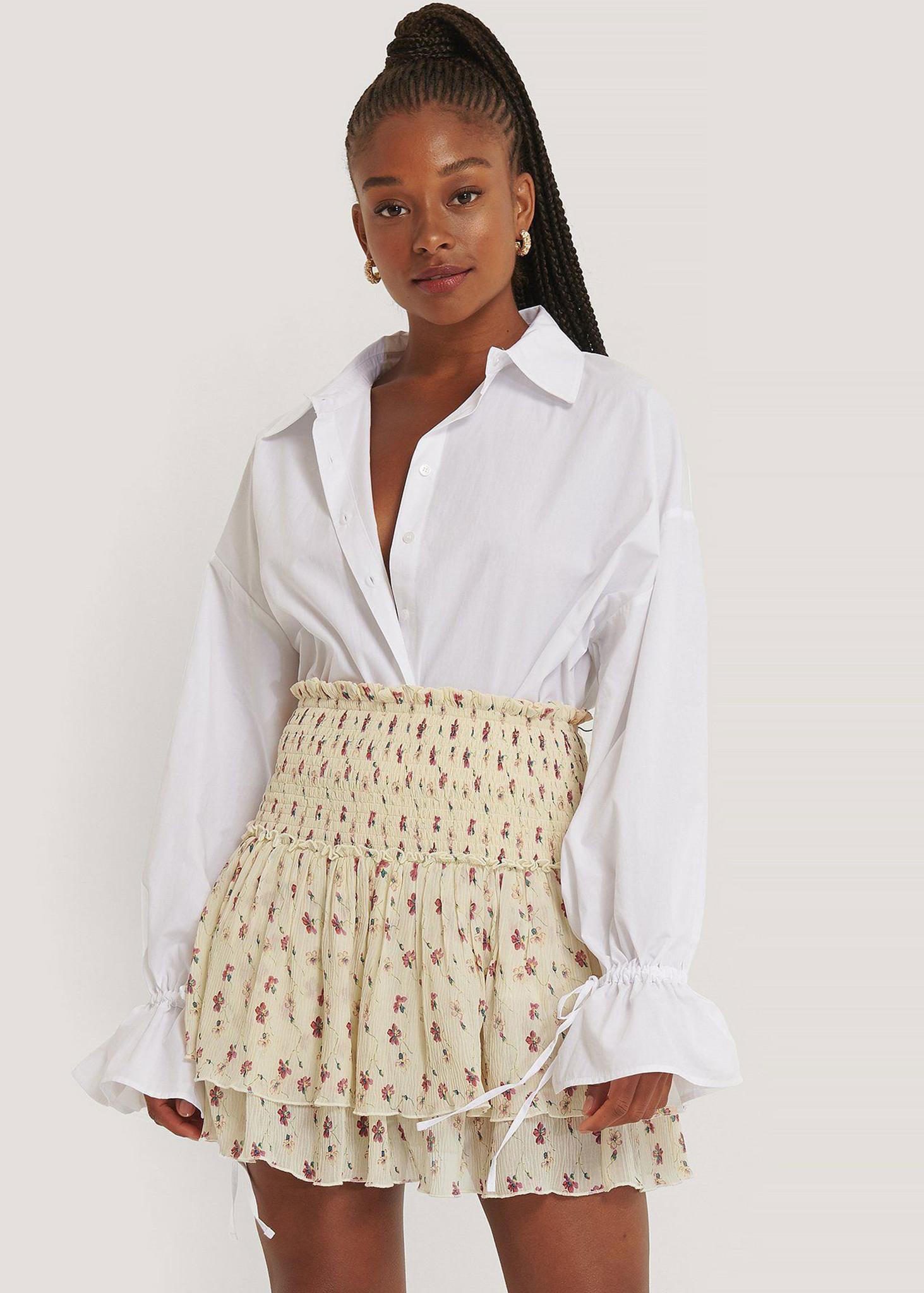 Mini Structured Smocked Skirt White Flower-3
