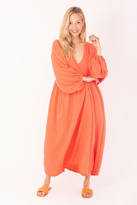 Jurk Wafelstof Oranje-1