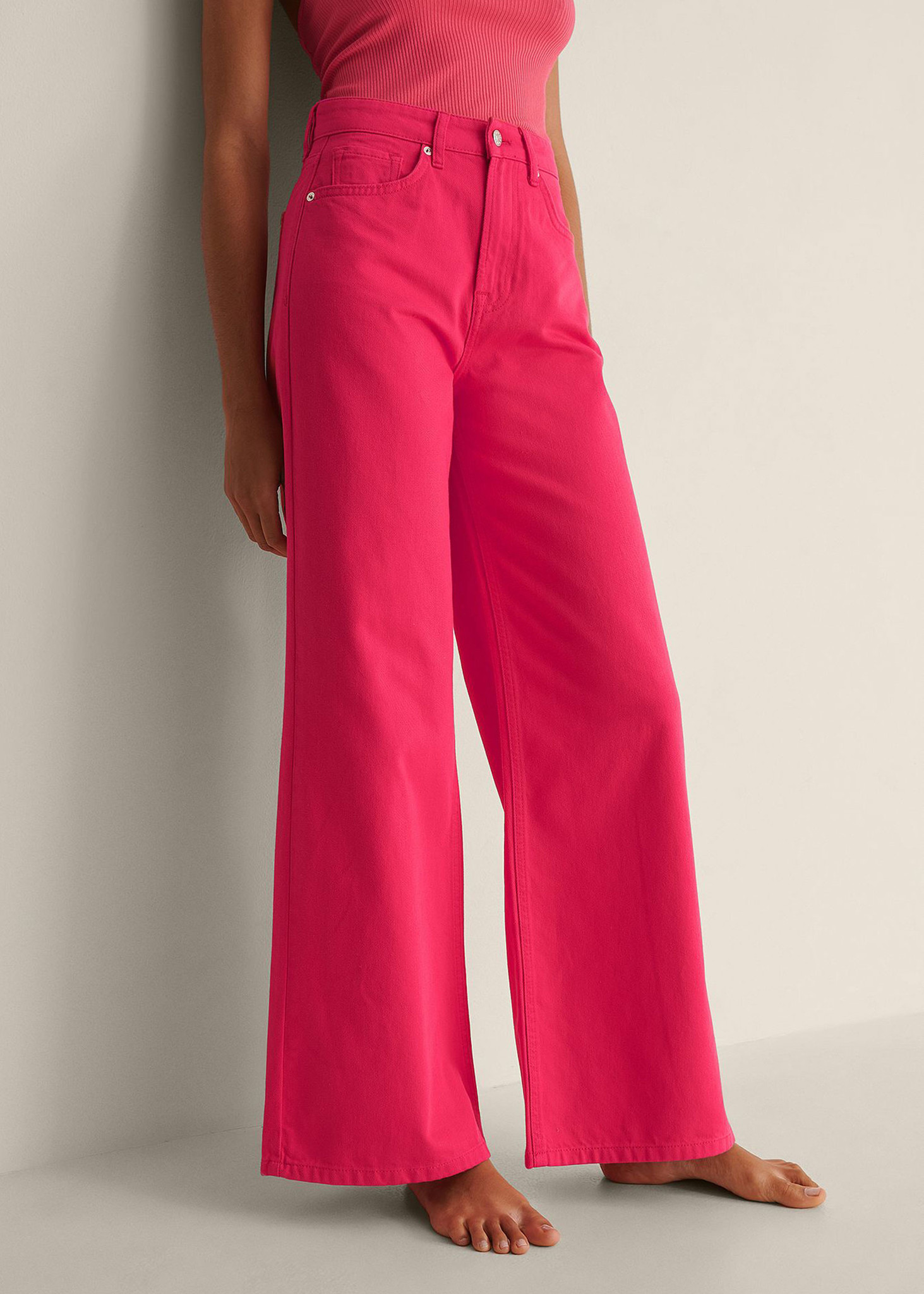 Colored Soft Rigid Wide Jeans-1