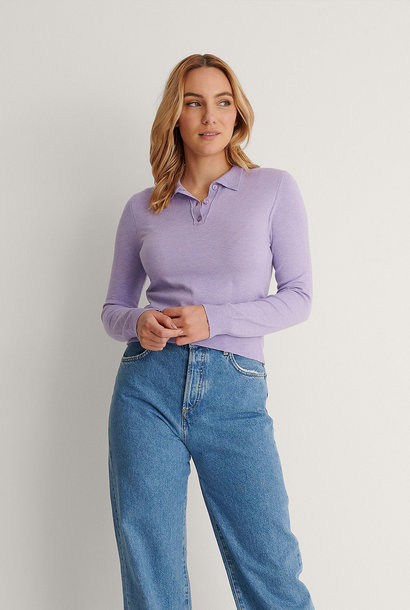 Buttoned Detail Sweater Purple