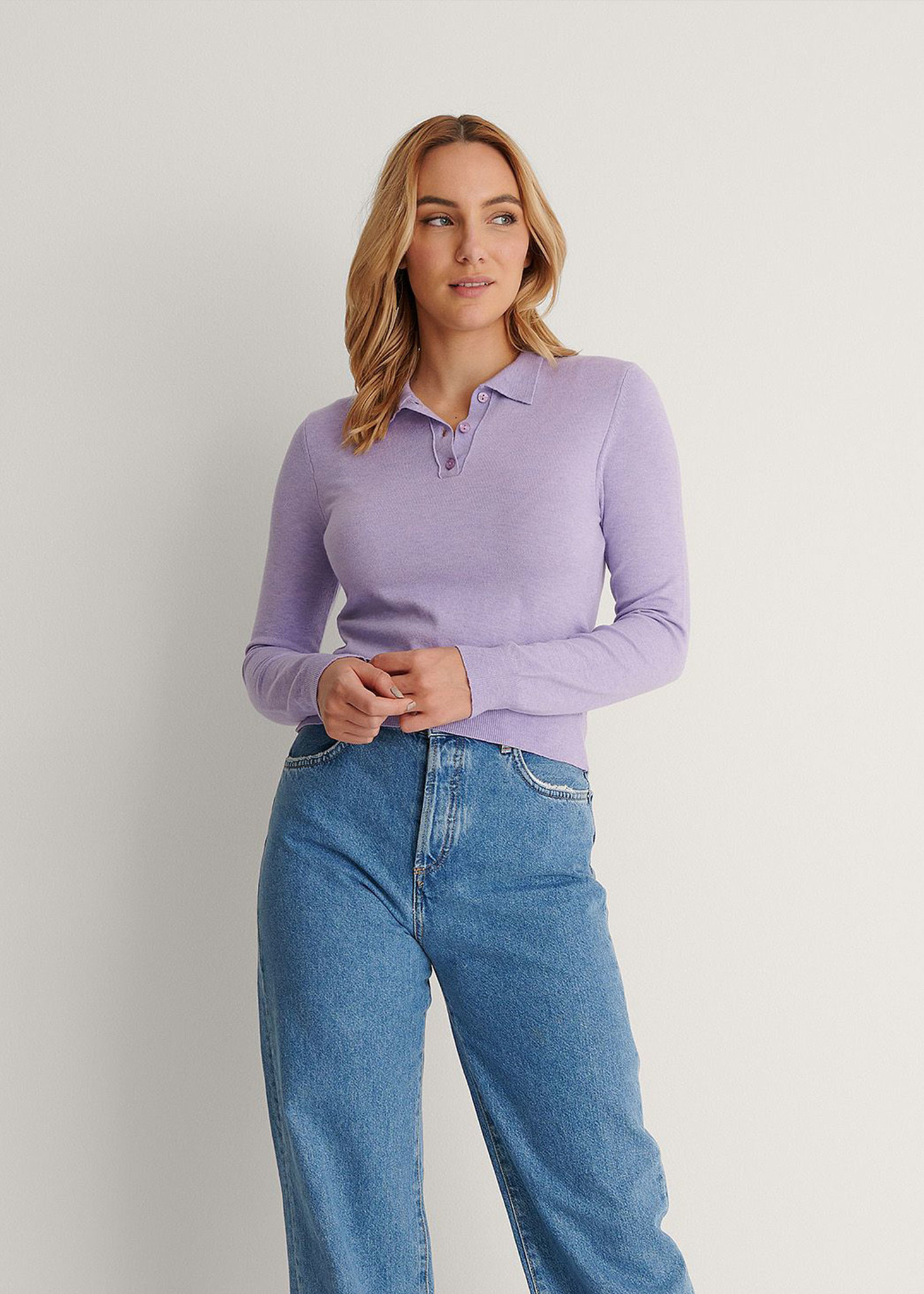 Buttoned Detail Sweater Purple-1