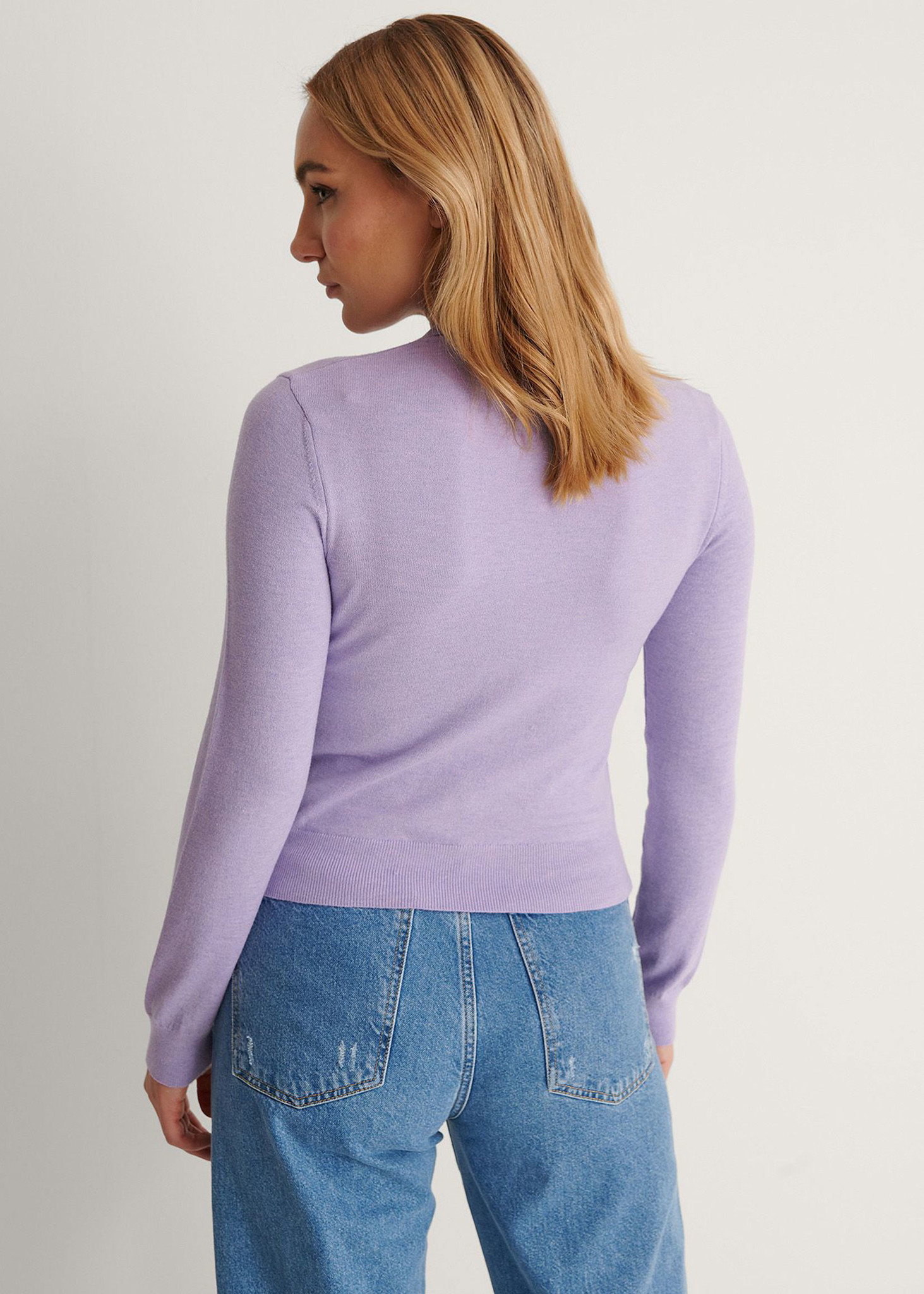 Buttoned Detail Sweater Purple-2