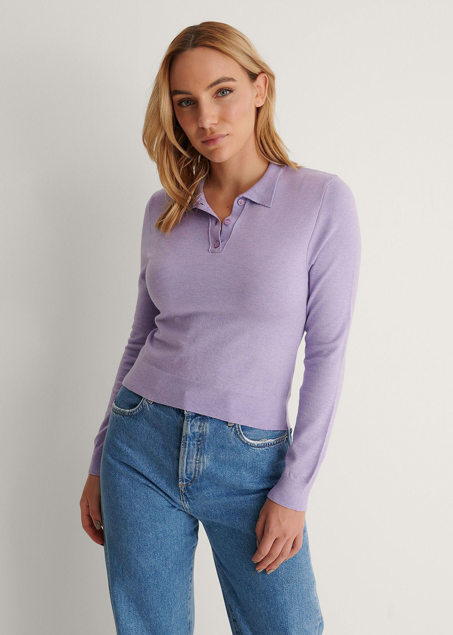 Buttoned Detail Sweater Purple-3