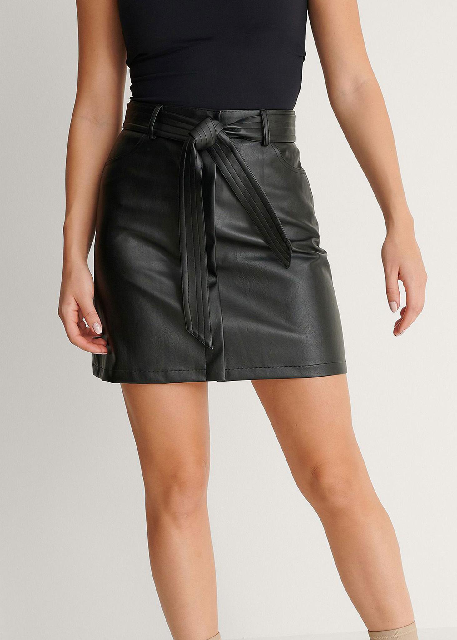 Belted PU Mini Skirt-1