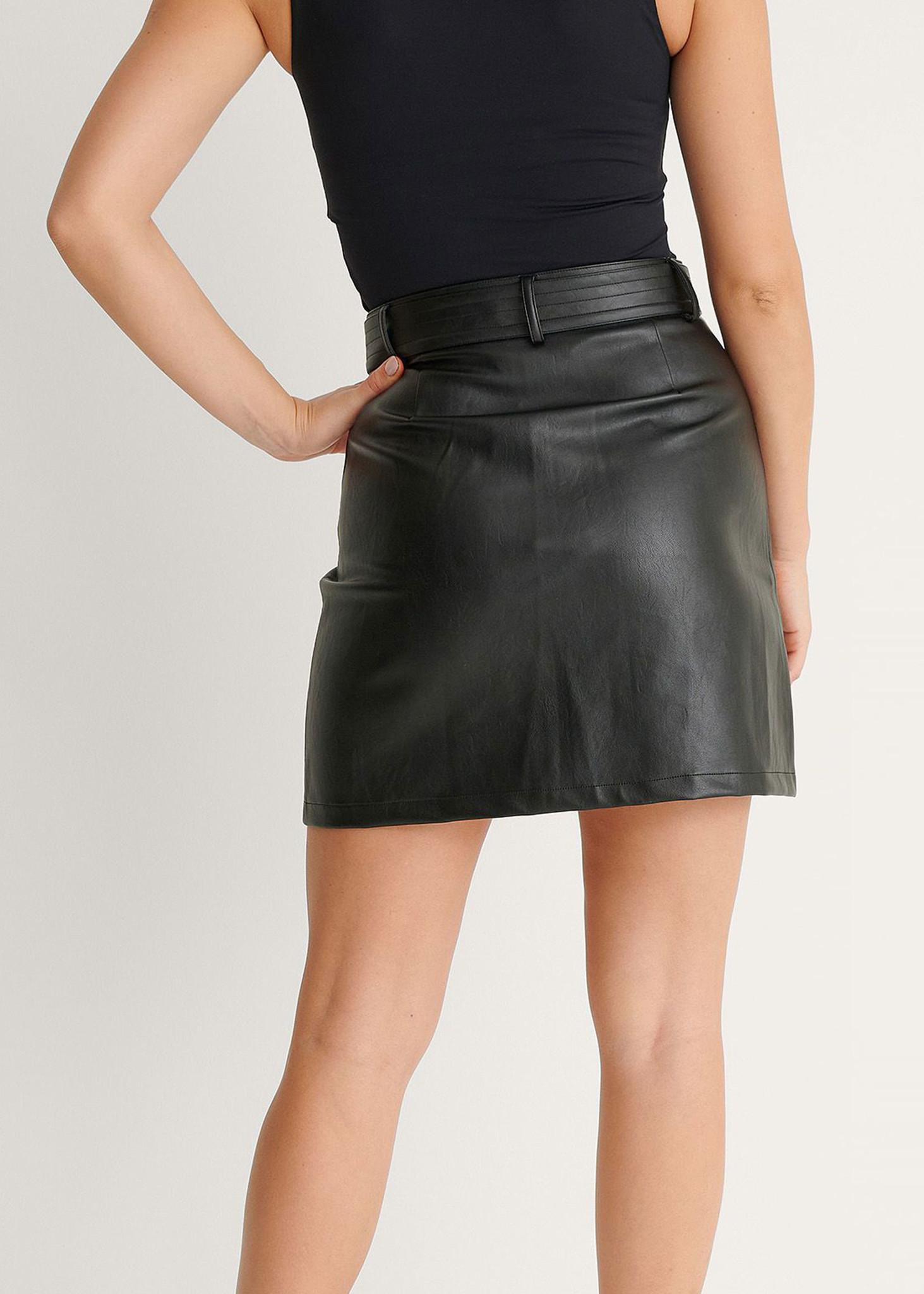 Belted PU Mini Skirt-2
