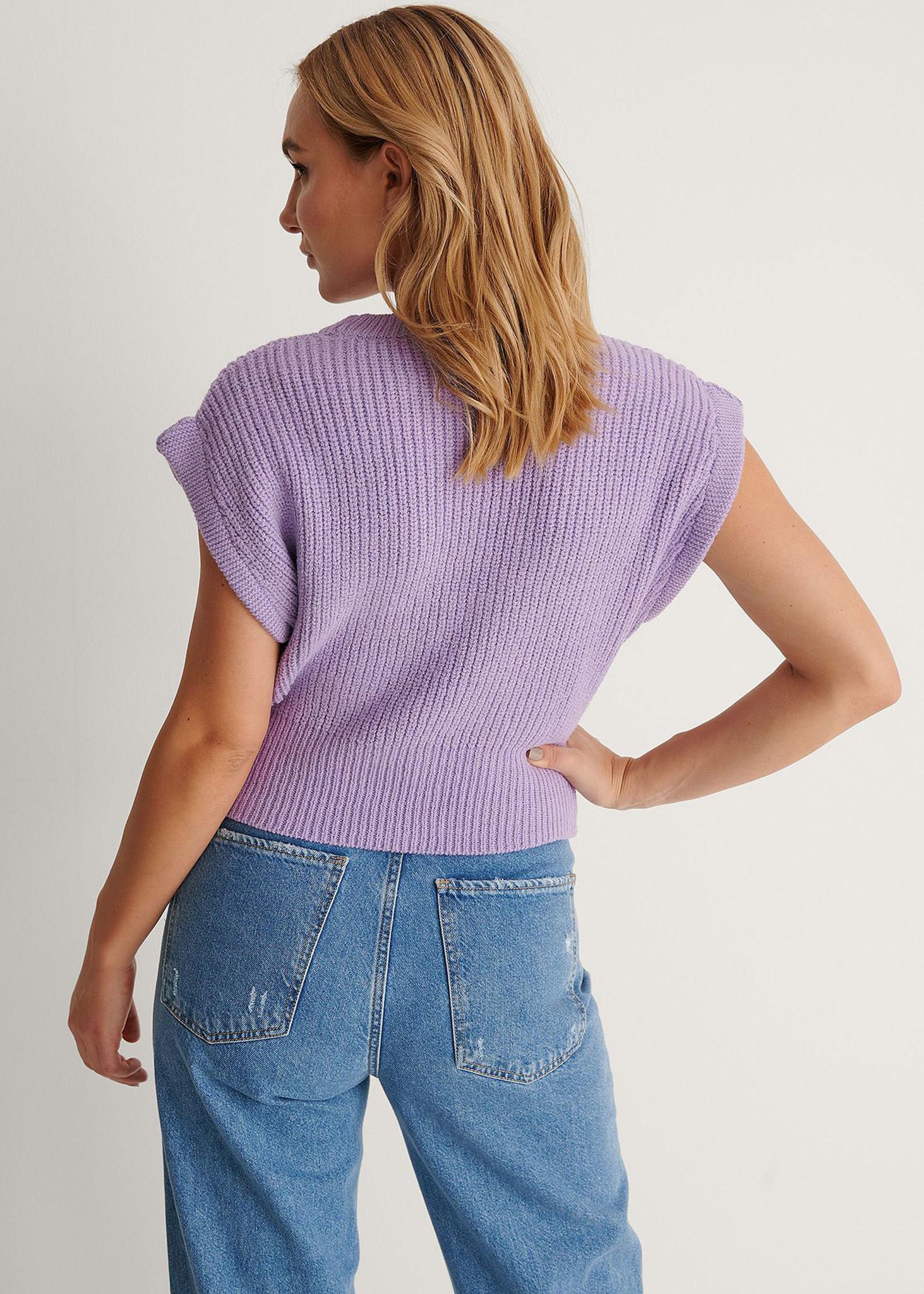 Oversized Short Knitted Vest Purple-2