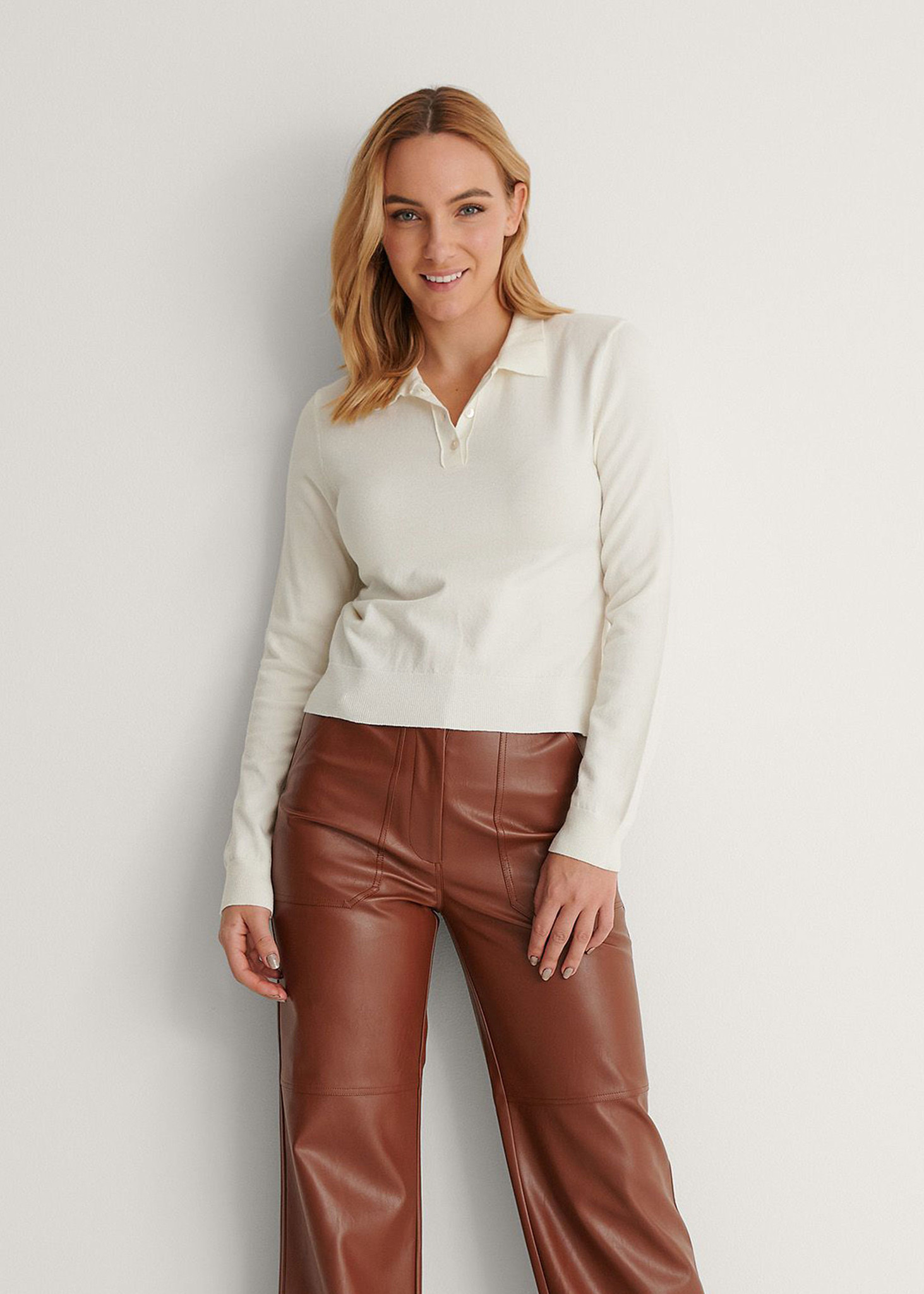 Buttoned Detail Sweater Off White-1