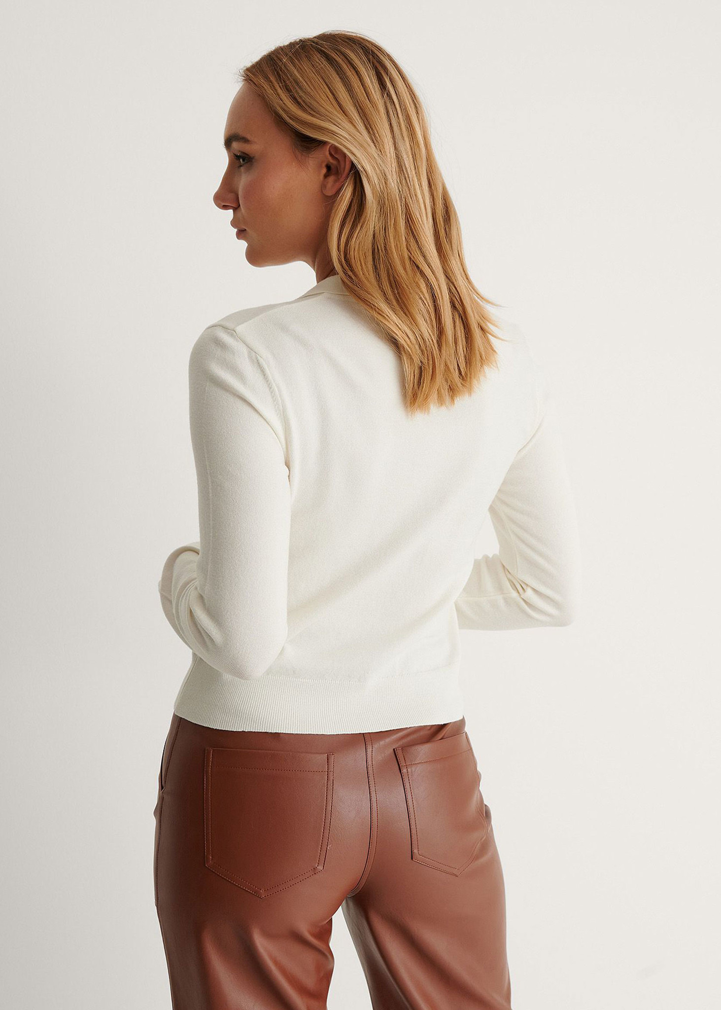 Buttoned Detail Sweater Off White-2