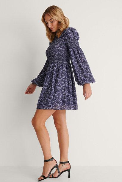 High Neck Smocked Mini Dress Purple