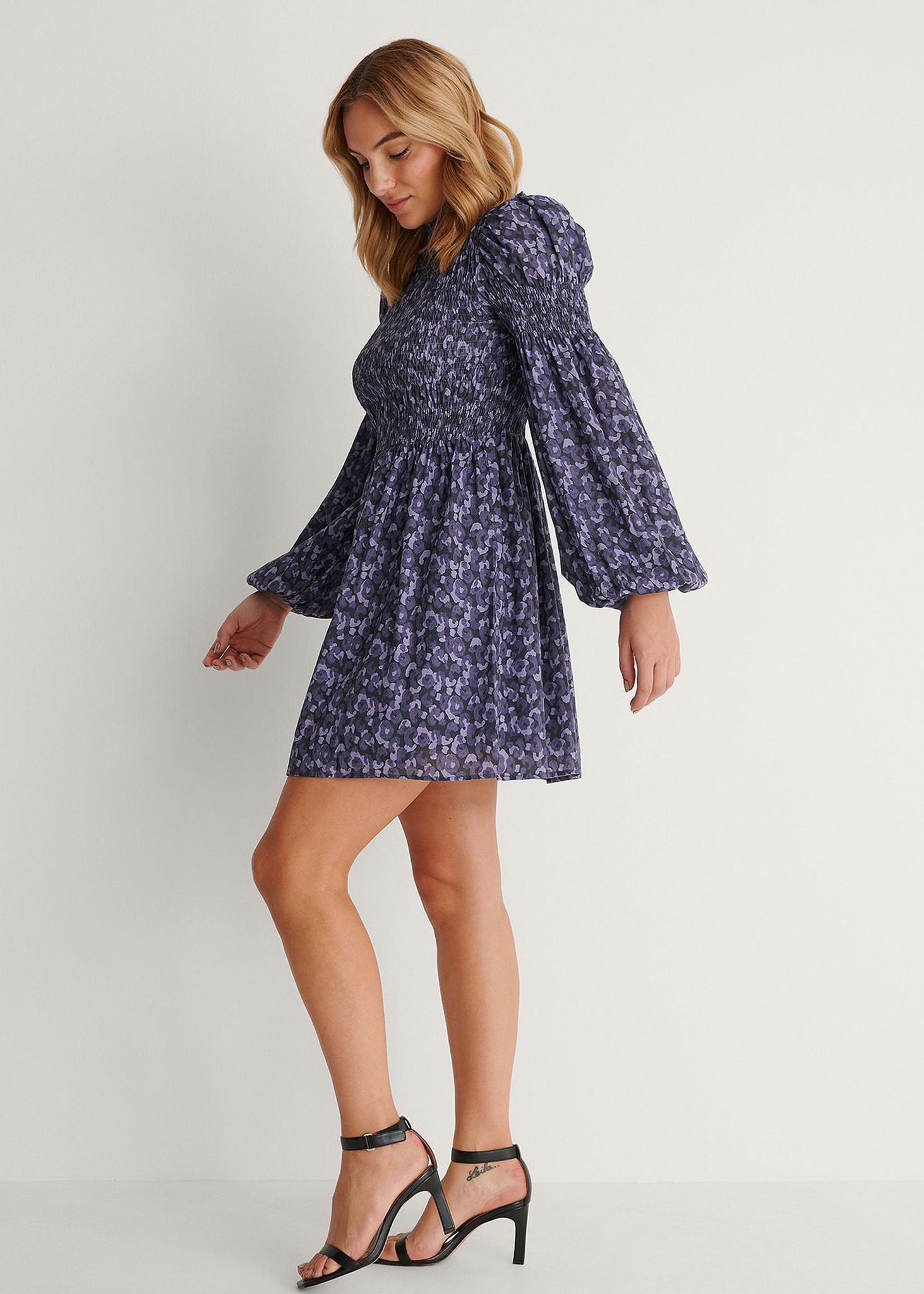 High Neck Smocked Mini Dress Purple-1