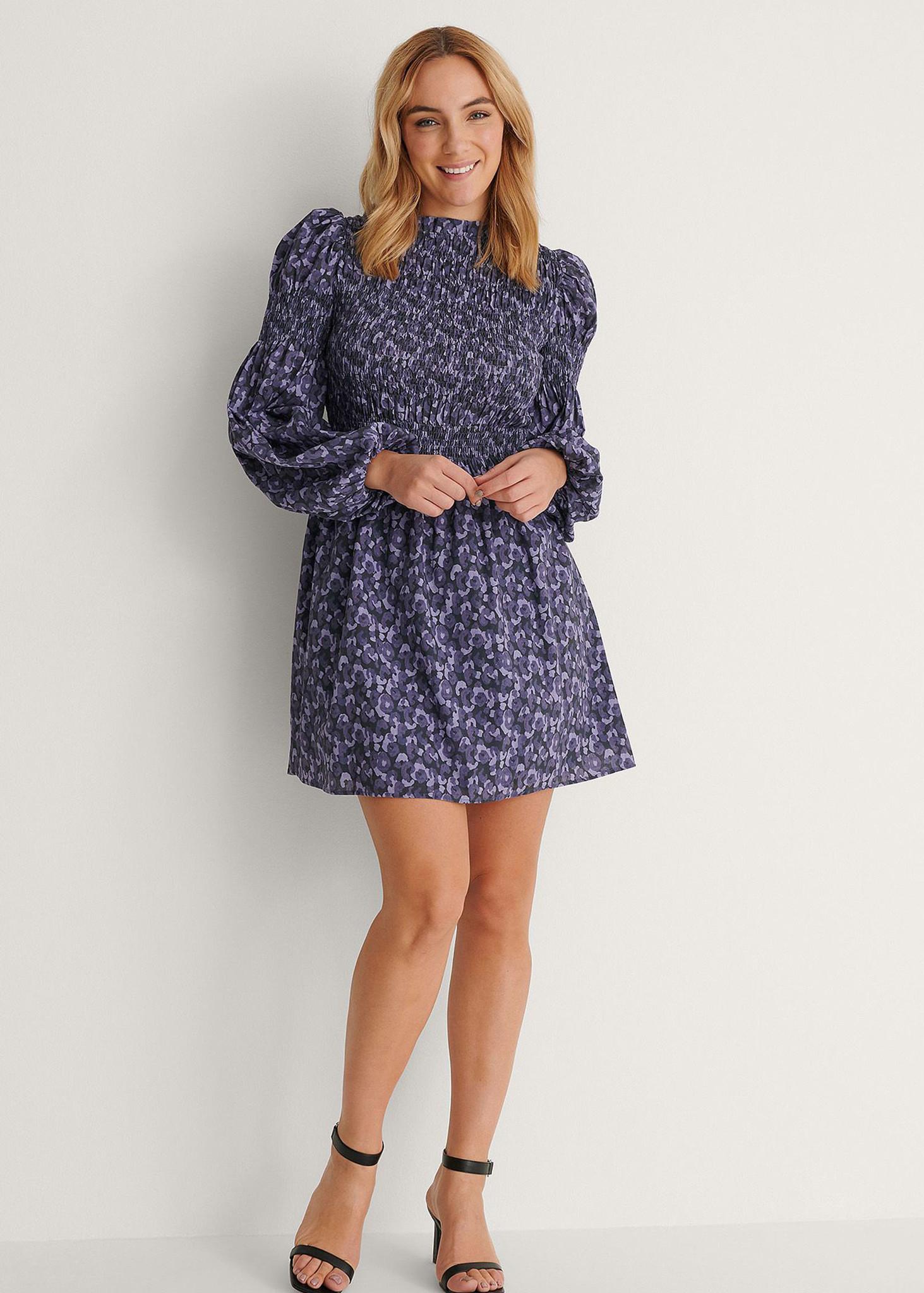 High Neck Smocked Mini Dress Purple-2