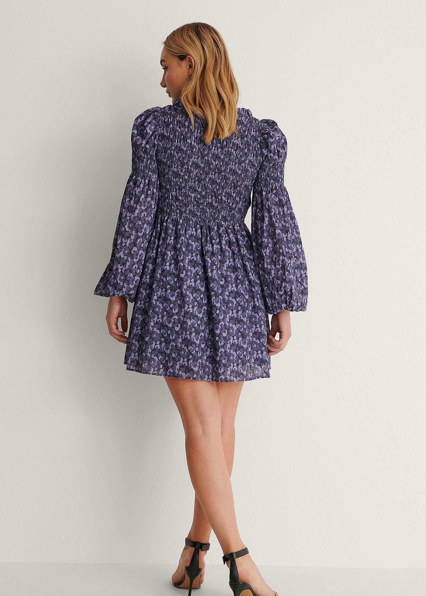 High Neck Smocked Mini Dress Purple-3