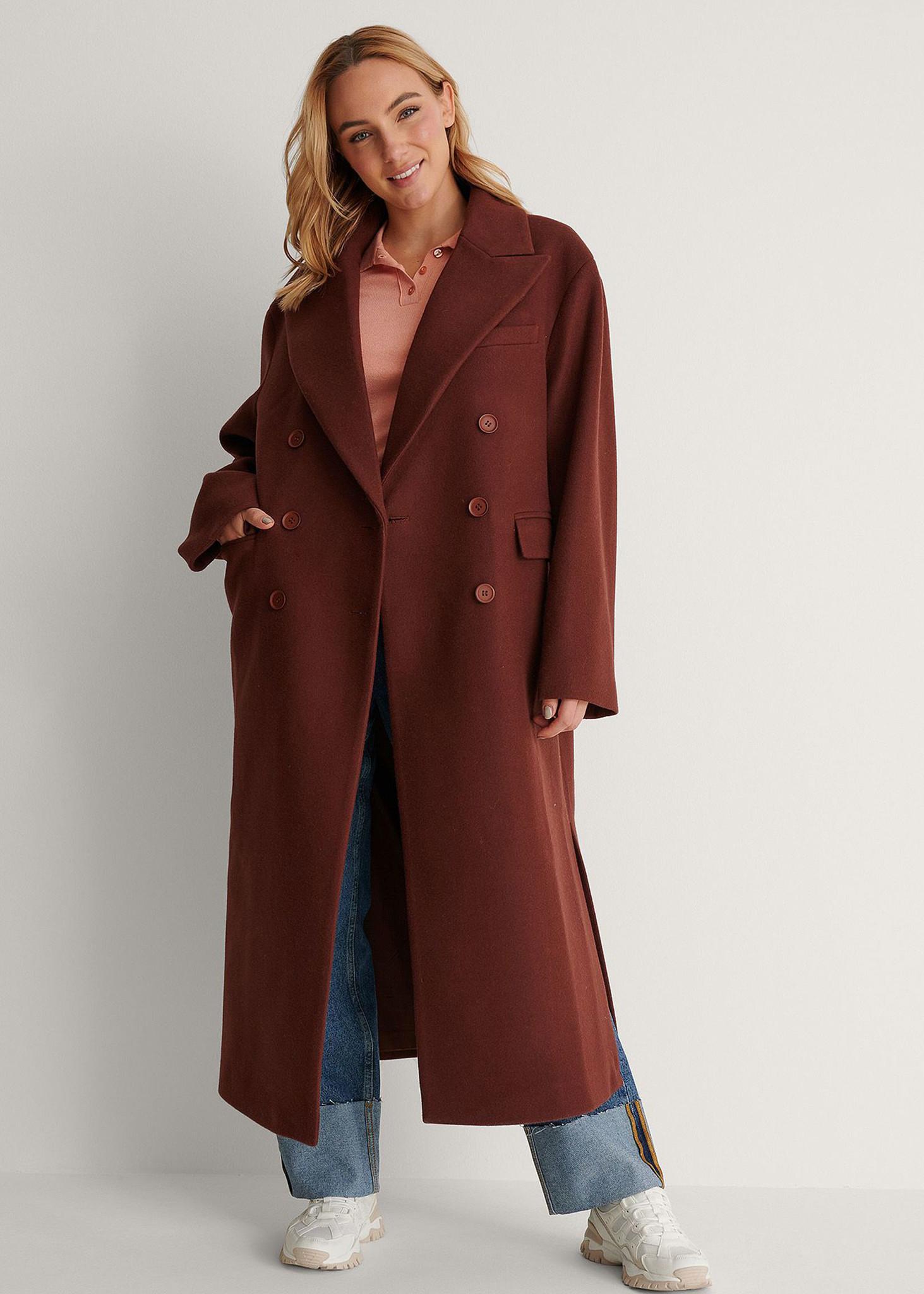 Oversized Side Slit Coat Brown-1