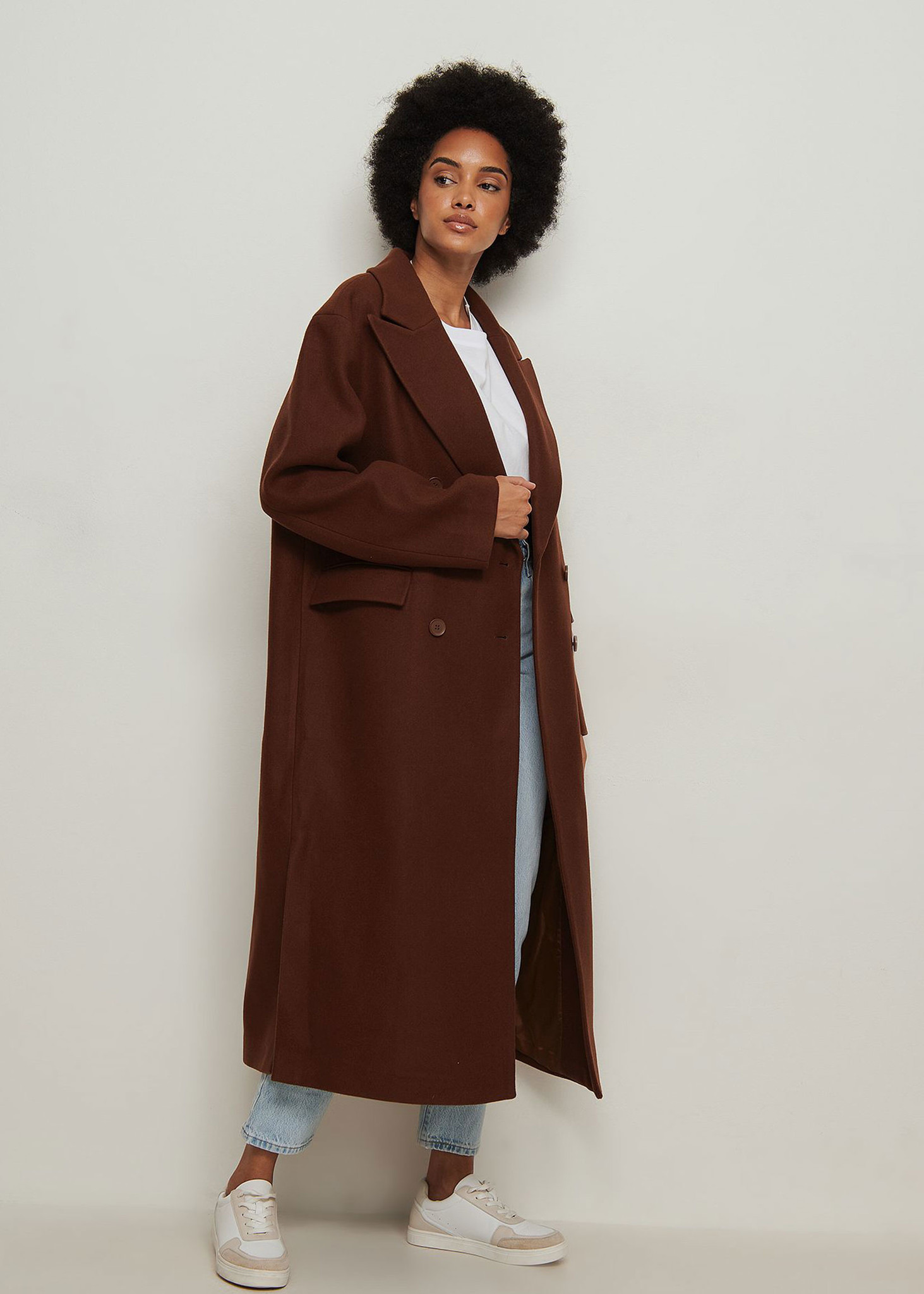 Oversized Side Slit Coat Brown-2