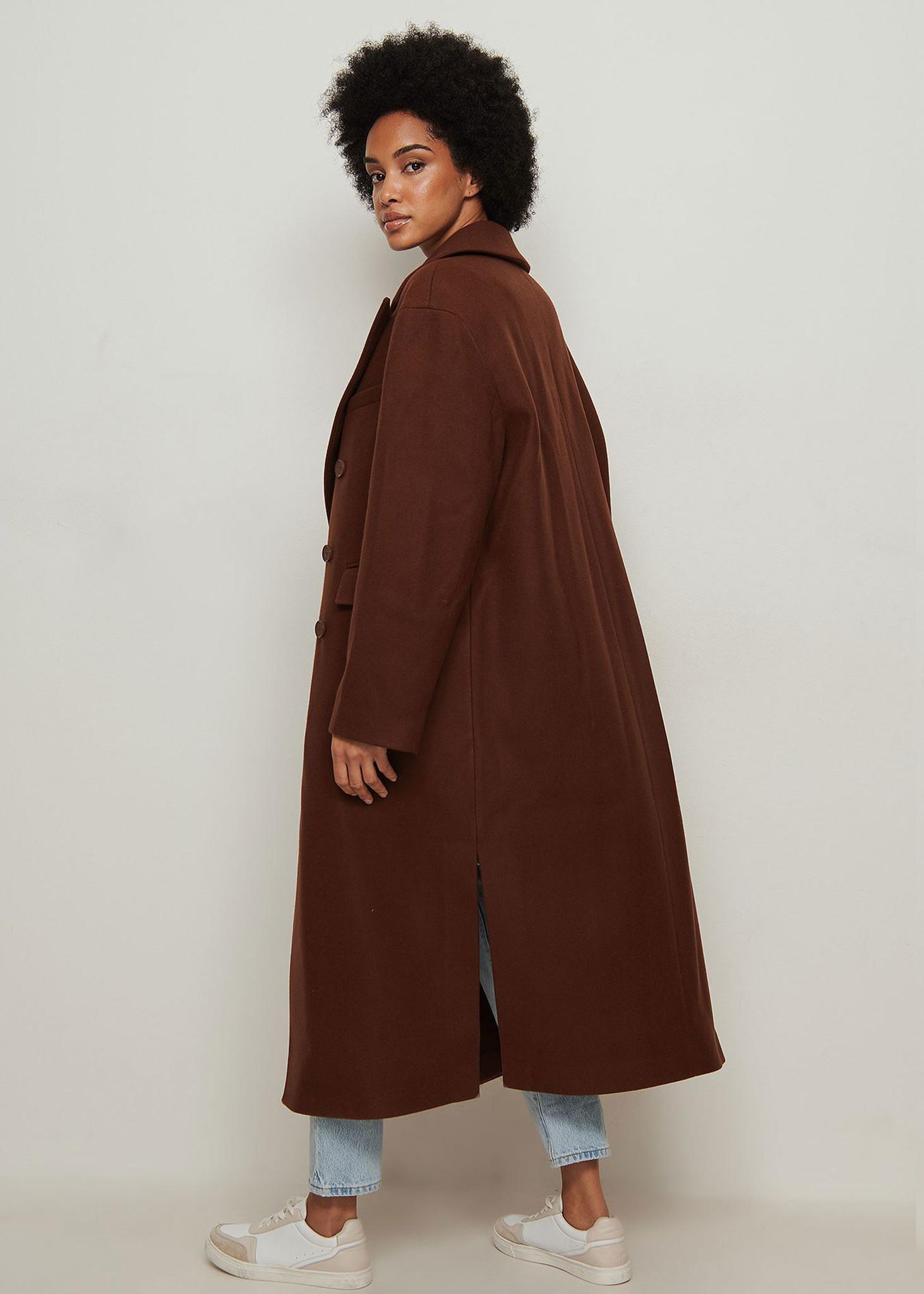 Oversized Side Slit Coat Brown-3